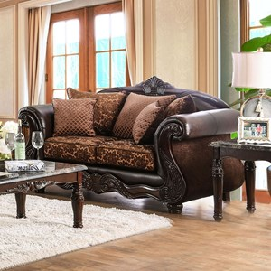 Traditional Fabric and Faux Leather Love Seat with Ornate Carved Wood