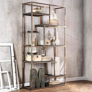 Contemporary Metal and Wood Bookshelf