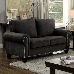 Transitional Loveseat with Nailheads
