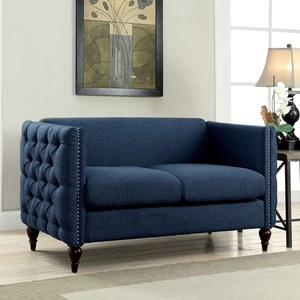 Transitional Loveseat with Button Tufted Sides