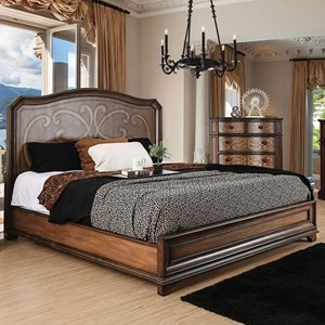Traditional King Size Bed with Laser-Cut Scroll Design on Headboard