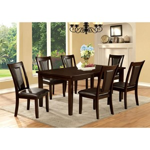 """Transitional Rectangular Dining Table with 18"""" Leaf"""