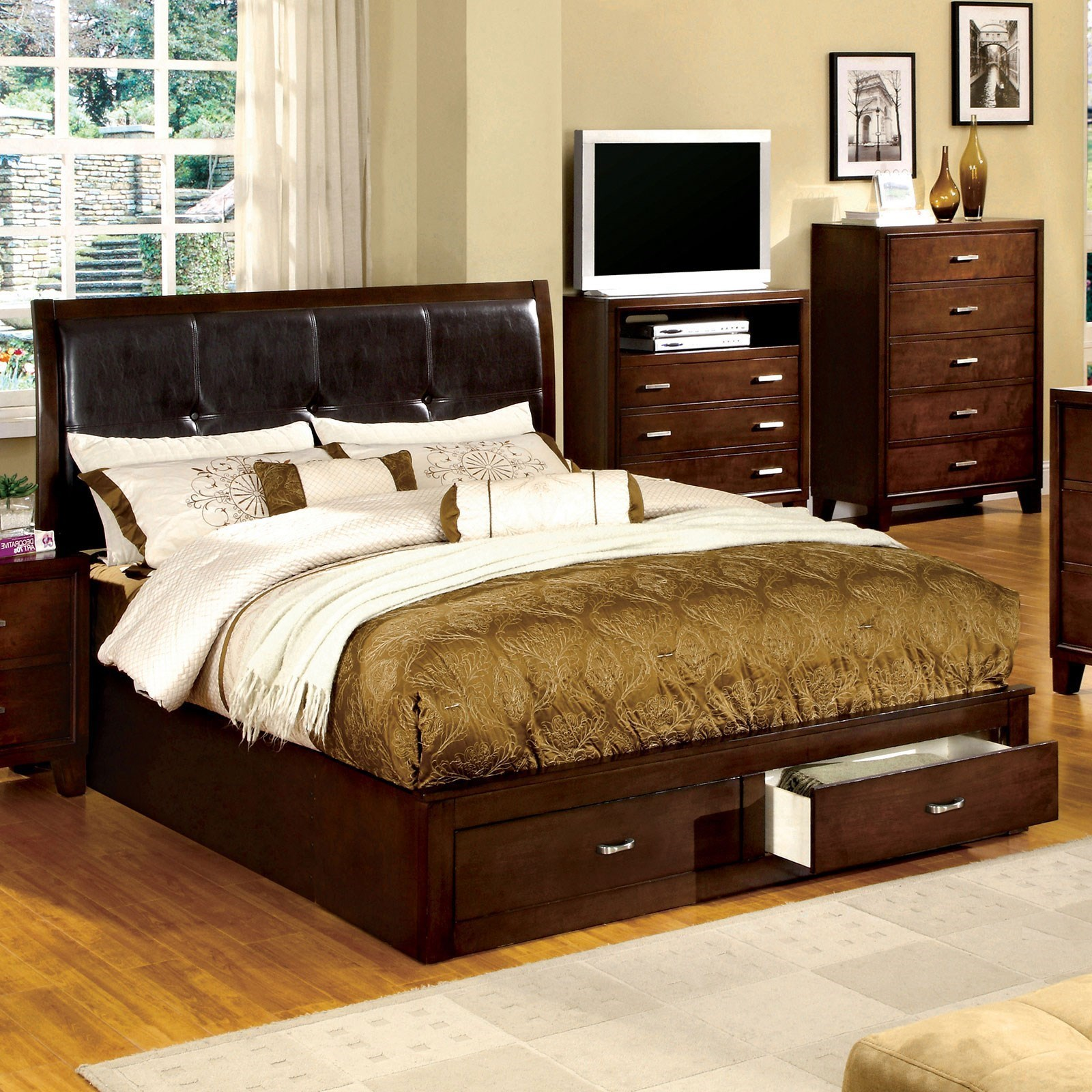 Enrico III King Upholstered Bed by Furniture of America - FOA at Del Sol Furniture
