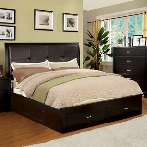 Contemporary Queen Upholstered Bed with Footboard Storage