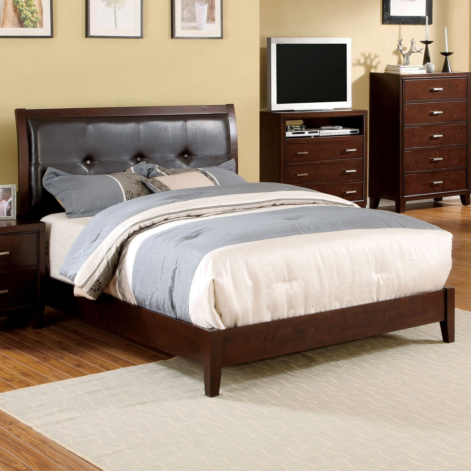 Enrico Queen Upholstered Bed at Household Furniture