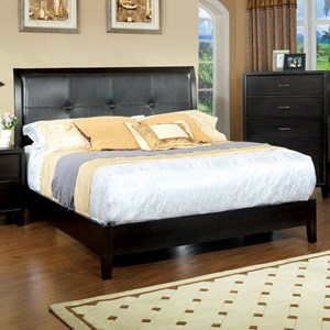 Contemporary Queen Upholstered Bed with Tufting