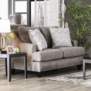 Contemporary Love Seat with Sloped Arms and Nailhead Trim