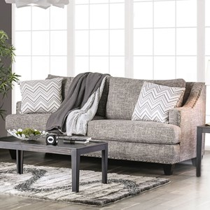 Contemporary Sofa with Sloped Arms and Nailhead Trim