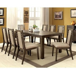 Transitional Dining Table with Expandable Leaf