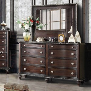 Transitional Dresser and Mirror Set with Carved Edge Accents