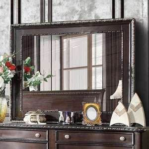 Transitional Mirror with Carved Edge Accents