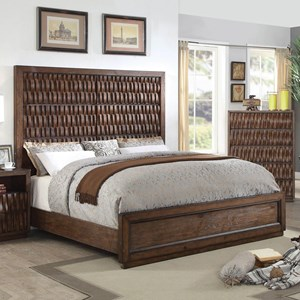 King Size Wood Basketweave Bed with Wicker Look