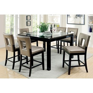 Contemporary Counter Height Table Set with Six Chairs