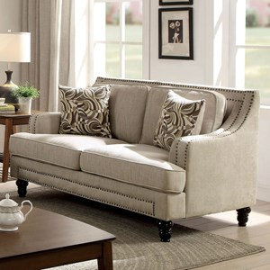 Transitional Loveseat with Nailhead Border