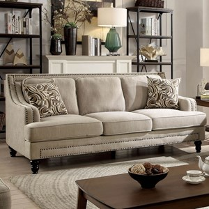 Transitional Sofa With Nailhead Border