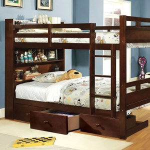 Twin-over-Twin Bunk Bed with Book Shelf