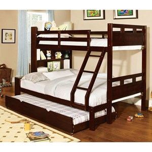 Twin-over-Full Bunk Bed w/ Book Shelf