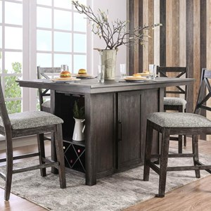 Counter Height Table with Wine Bottle Storage