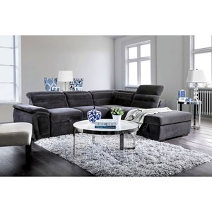 Sectional with Adjustable Headrest and Sleeper