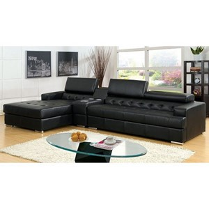 Contemporary Chaise Sectional with Speaker Console