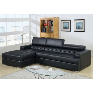 Contemporary Chaise Sectional with Adjustable Headrests