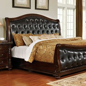 Traditional Upholstered Sleigh Eastern King Bed