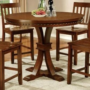 Transitional Round Counter Height Pedestal Table