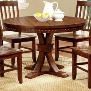 Transitional Round Pedestal Dining Table with Nailhead Trim