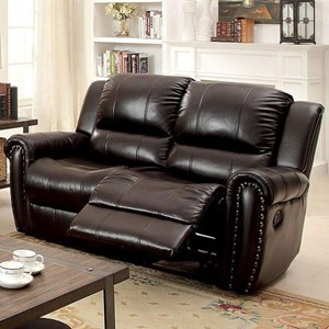 Transitional Bonded Leather Reclining Loveseat with Nailheads