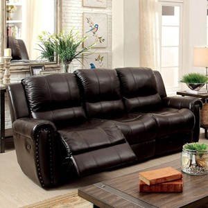 Transitional Leather Match Reclining Sofa with Nailheads