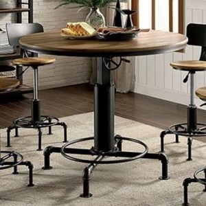 Modern Industrial Wine Bar Table with Adjustable Height