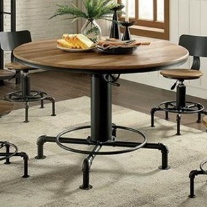 Modern Industrial Round Dining Table with Adjustable Height