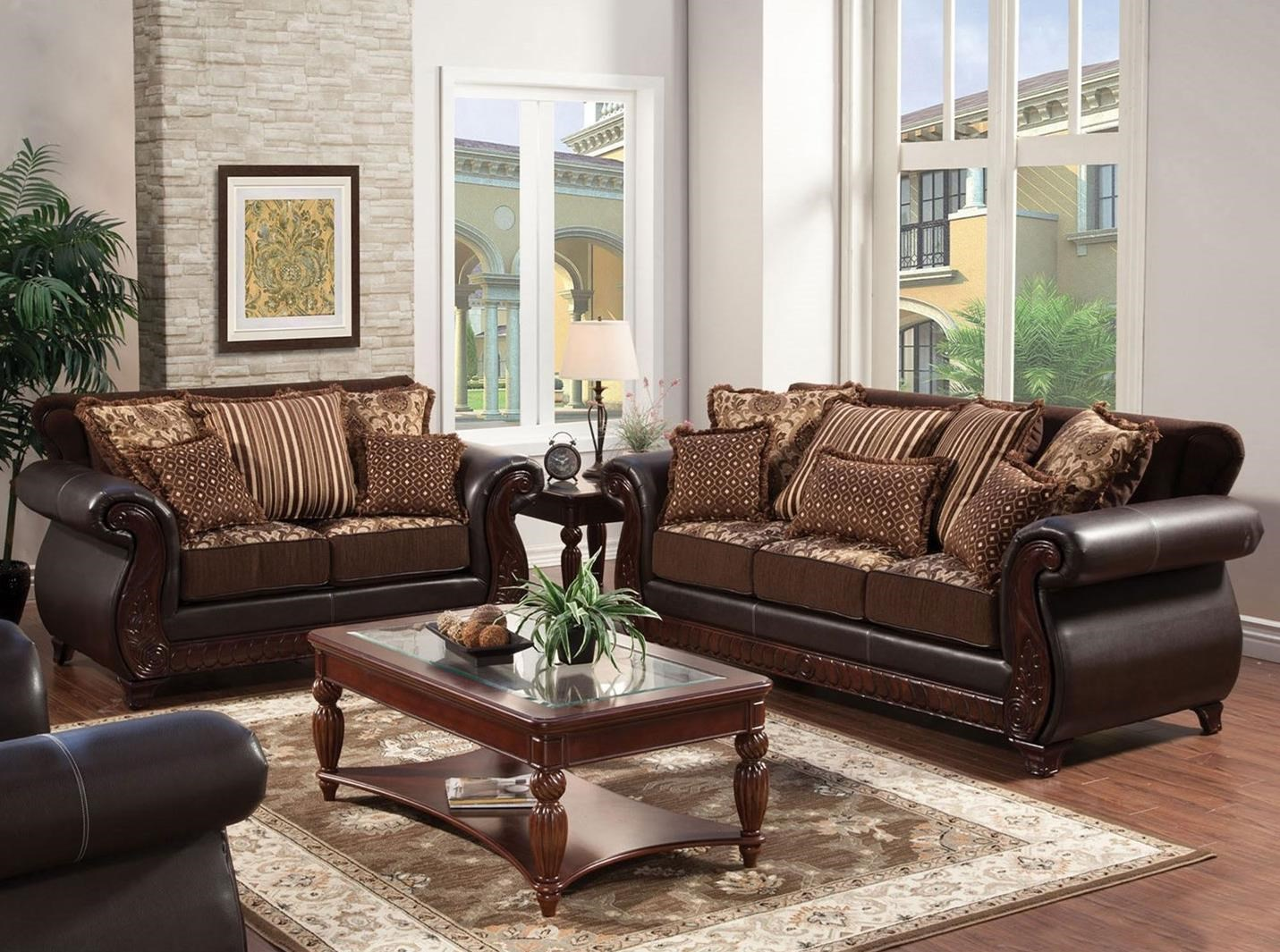 Franklin Sofa and Love Seat by Furniture of America at Dream Home Interiors