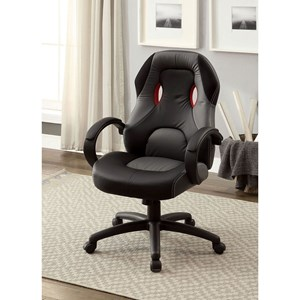 Contemporary Office Chair with Casters and Back Cutouts
