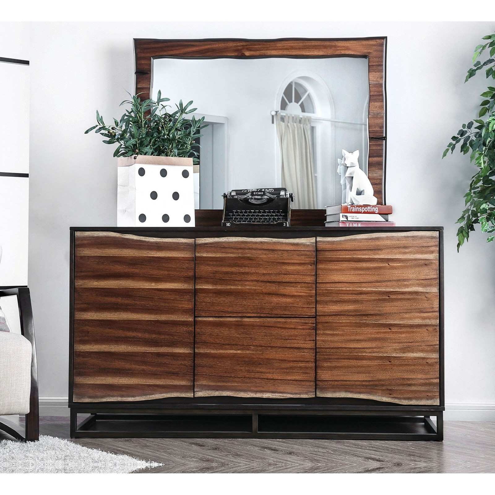 Fulton Dresser and Mirror Combination by Furniture of America at Corner Furniture