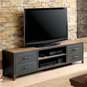 """72"""" Industrial TV Stand with Rivets"""