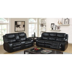 Reclining Sofa and Loveseat with Cupholder Storage Console