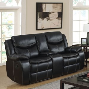 Casual Faux Leather Reclining Loveseat with Cupholder Storage Console