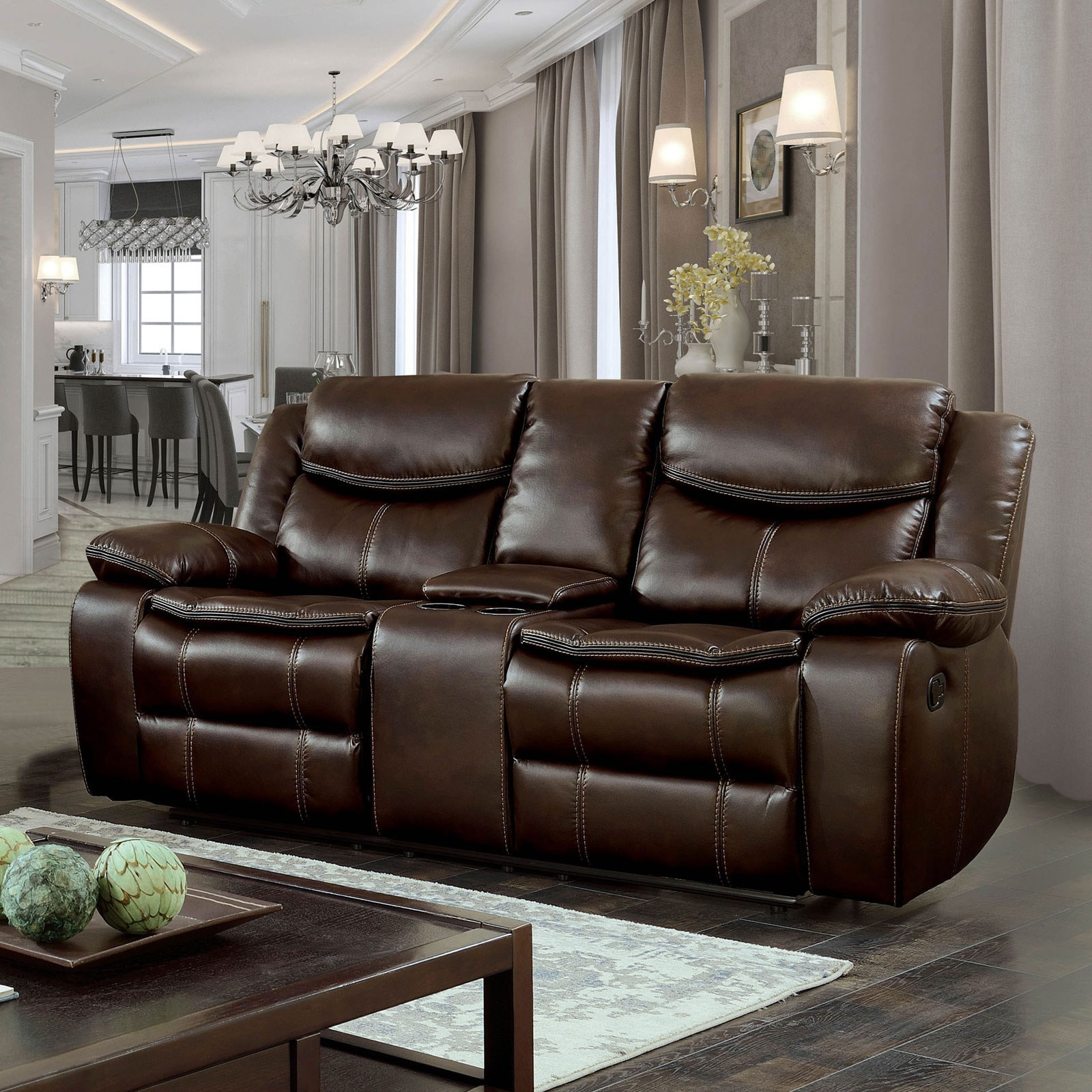 Gatria Loveseat w/ Console & 2 Recliners at Household Furniture