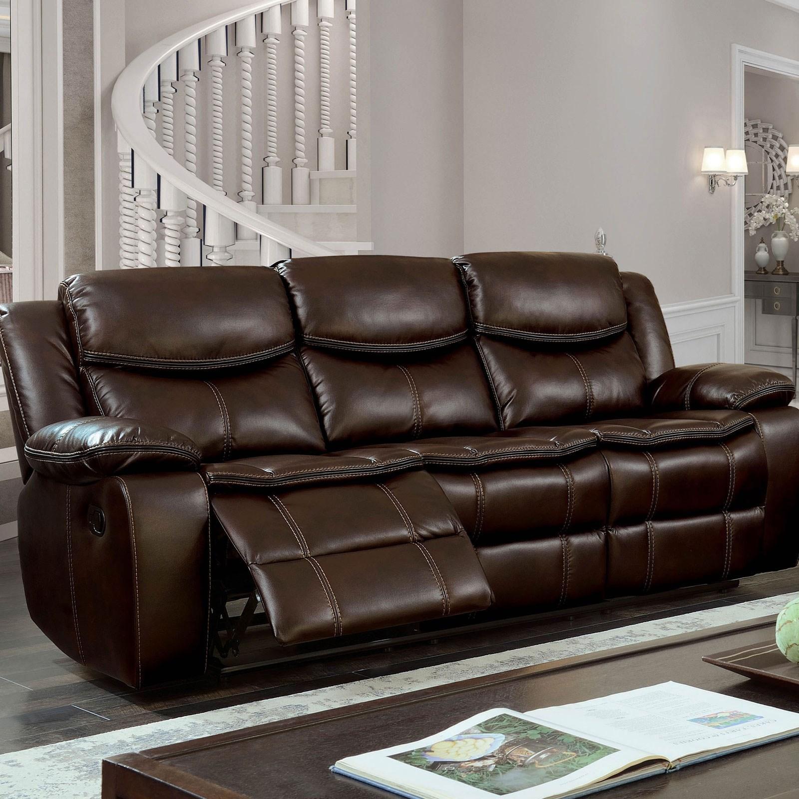 Gatria Sofa w/ 2 Recliners by Furniture of America at Dream Home Interiors