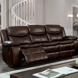 Casual Faux Leather Reclining Sofa