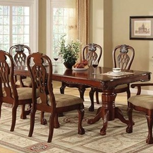 Traditional Double Pedestal Table with Leaf