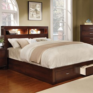Contemporary Queen Bookcase Bed with Footboard Storage