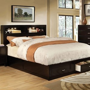 Contemporary King Bookcase Bed with Footboard Storage