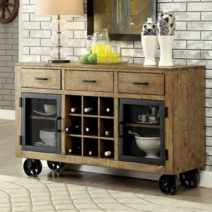 Industrial Server with Metal Casters and Wine Storage