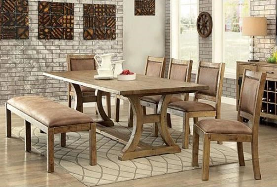 Gianna Table, 4 Chairs, and Upholstered Bench by Furniture of America at Nassau Furniture and Mattress