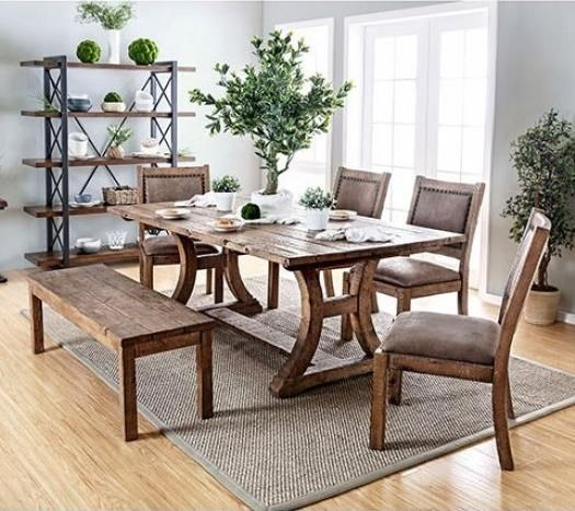 Gianna Table, 4 Chairs, and Bench at Household Furniture