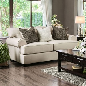 Transitional Love Seat with Rolled Arms