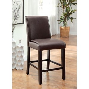 Contemporary Pack of 2 Counter Height Upholstered Leatherette Side Chairs