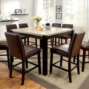 Contemporary Counter Height Dining Table with Marble Top